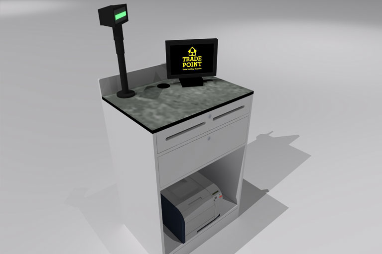 trade point card payment desk design, manufacture and installation