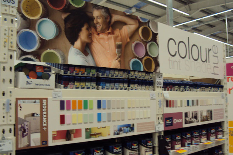 b&q paint chips display board manufacture